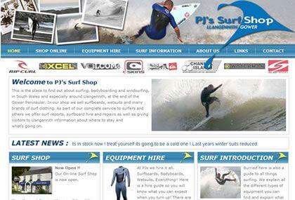 PJ's Surf Shop Website Development